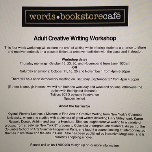 creative writing workshop ideas for adults